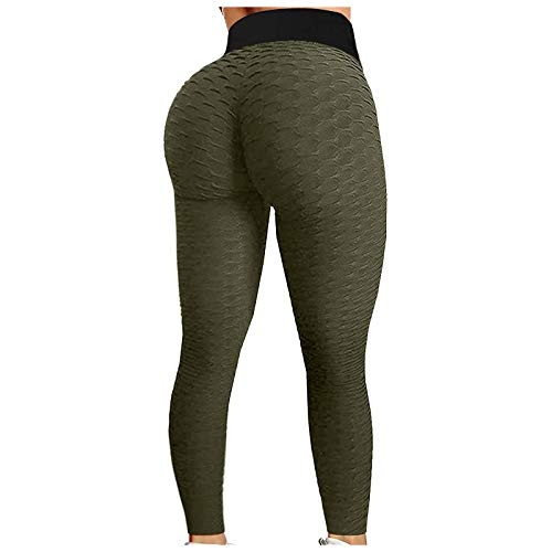 Mallas Casual de Yoga Pantalones Deportivos con Textura de Panal Leggings de Cintura Alta Leggins Push Up Pantalón de Deporte Transpirables Elásticos Ideal para Fitness Running Gym