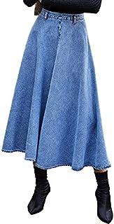 Women Fashion High Waist Big Swing Denim Long Skirt High Quality (Color : Blue, Size : L)
