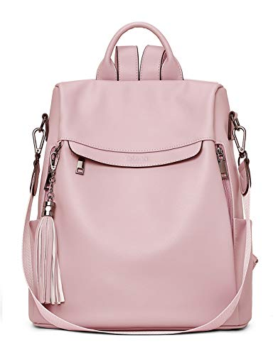 Telena Travel Backpack Purse for Women, PU Leather Anti Theft Large, Ladies Shoulder Fashion Bags Pink