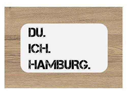 DU. ICH. HAMBURG. Frühstücksbrettchen | Brettchen | Schneidebrett 23 x 14 cm | schwarz weiß | mit Spruch | Geschenk | Hochzeit | Geburtstag | Einzug | Weihnachten
