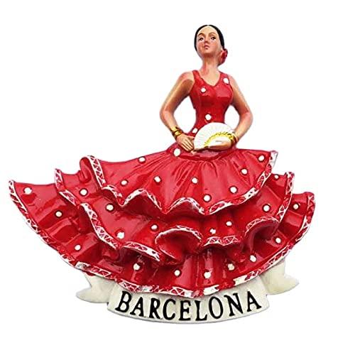 JIUXIAO Imán para Nevera, Pegatina magnética para Nevera, Barcelona, España, Bailarina de...