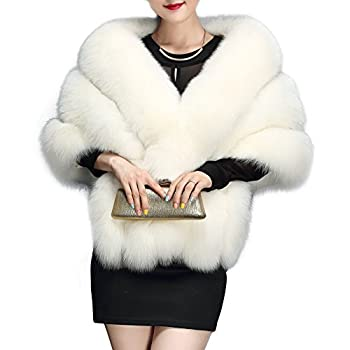 Amore Bridal Women s Luxury Party Faux Fox Fur Long Shawl Cloak Cape for Winter White One Size