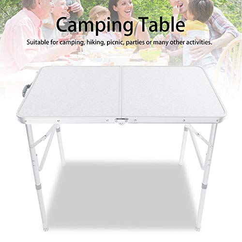 Portable Camping Table, Height Adjustable Aluminium Portable Trestle Camping Picnic Dining Folding Table for Garden Party Picnic Outdoor Activities