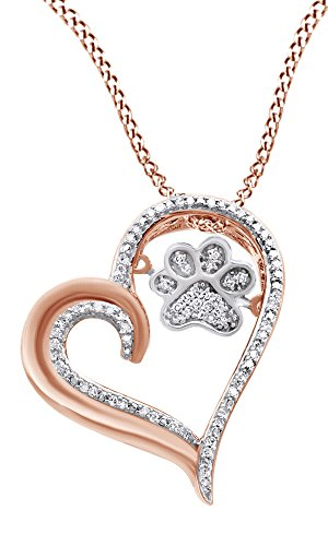AFFY White Natural Diamond Paw Print Heart Pendant Necklace in 925 Sterling Silver & 10K White Gold (0.1 Cttw)