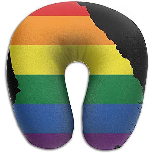 Cojin Cervical Viaje,Almohadas De Viaje De U,Espuma De Memoria Almohada Cuello,Mapa De La Bandera LGBT De Georgia State Travel Rest Pillow Avión,Automóvil,Tren,Siesta En La Oficina