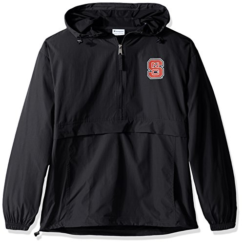 Champion NCAA Mens Half Zip Front Pocket Packable Jacket NC State Wolfpack Large