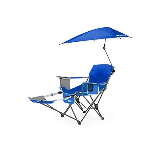 HYRL Chaise inclinable, Sport Portable Sun Shelter météo Parapluie Fauteuil inclinable Chaise Pliante, Chaise Pliante extérieur Fauteuil de pêche Chaise de Plage,Blue