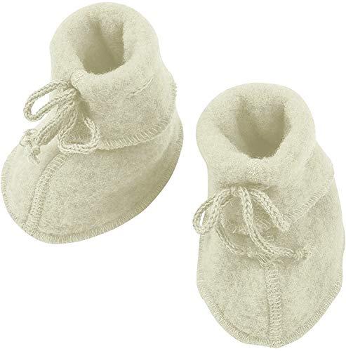 Engel Baby Fleece-Schühchen mit Bändel und Flatlocknähten Bio-Schurwolle Natur 50/56