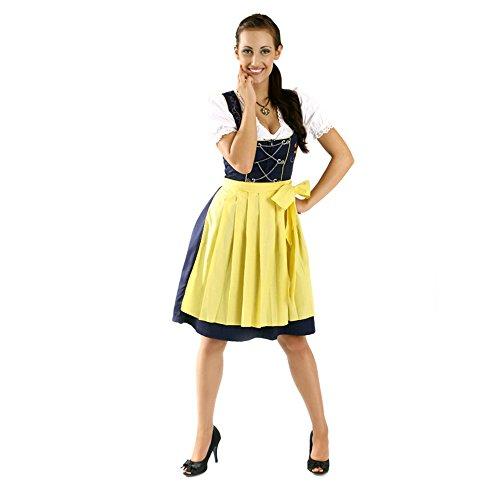 Almbock Mini Dirndl Fiona schwarz-gelb in Gr. 34 36 38 40 42 44 - 3-teiliges Dirndl-Set für Damen mit Dirndl-Bluse und Dirndl-Schürze