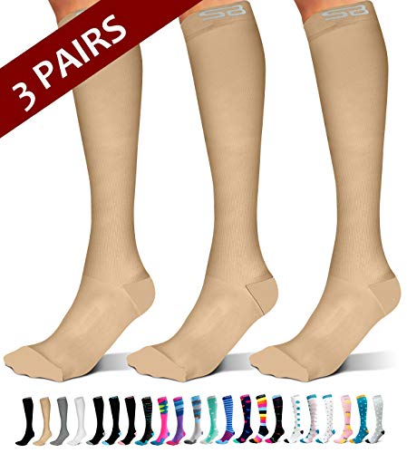 SB SOX 3-Pair Compression Socks (15-20mmHg) for Men & Women – Great Quality Comfortable Socks, Easy to Put On – Best Socks for Daily/Any Use, Running, Nurse, Travel (02 – Solid Nude, Small/Medium)