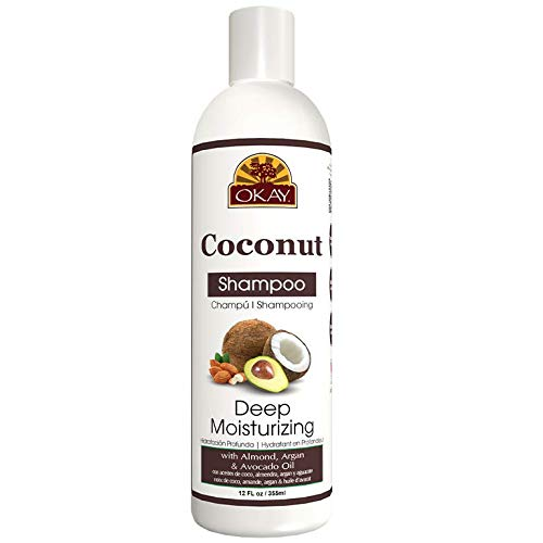 OKAY| Coconut Deep Moisturizing Shampoo| Helps Replenish Moisture And Elasticity For Healthy Strong Hair| Sulfate, Silicone, Paraben Free| For All Hair Types and Textures| Made in USA 12oz