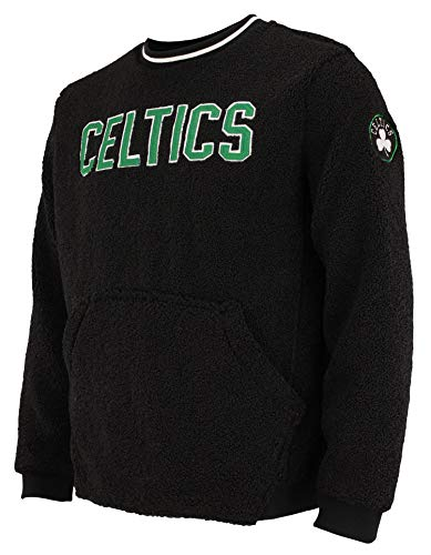 FISLL NBA Men's Moto Sherpa Crew Neck Sweatshirt, Boston Celtics Medium
