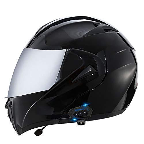 Casco de Moto Modular,Bluetooth Integrado Flip Up Casco Moto Integral,Certificación ECE con Doble Visera Casco Motocross para Hombre Y Mujer Adulto Motocicleta Casco Scooter U,M=57-58cm