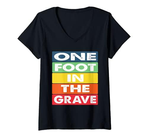 Damen One Foot in the Grave Amputierter Rollstuhl Design für Amput T-Shirt mit V-Ausschnitt