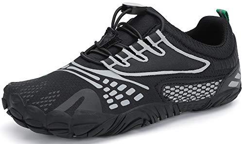 SAGUARO Barefoot Zapatillas de Trail Running Niños Niñas Minimalistas Zapatos de Deporte Antideslizantes Calzado Descalzos para Fitness Caminar Correr Asfalto Montaña Senderismo, Tinta Negro, 35 EU