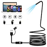 ASOOLL USB Endoscope Snake Inspection Camera Waterproof Pipe 3 in 1 Type-C Endoscope Camera 7mm Borescope Camera with 6 Adjustable LED Lights for Android Smartphone,Windows,MacBook,Laptop 3.5FT