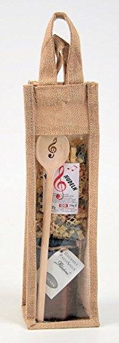 Geschenkset mit Kochlöffel Violinschlüssel, Notennudeln und Pastasauce in Jutetasche - Schönes Geschenk für Musiker