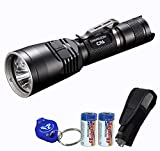Nitecore Bundle Chameleon CR6 440 Lumens Red & White Dual Beam LED Flashlight Hunting Light w/RGB Color Light, 2X CR123A Batteries, Holster & Lumentac Keychain Light