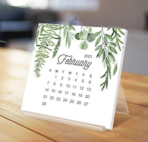"Botanical Watercolor Desk Calendar with Acrylic Stand | 2021 Desk Calendar 4.25x4.25"" | Greenery Eucalyptus Print | Office Desk Calendar | Monthly Calendar"