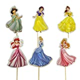 Dawei 24pcs Disney Princess-Cupcake Toppers (Snow White, Belle, Cinderella, Ariel,Jasmine,Sleeping Beauty Cupcake Toppers-Picks)