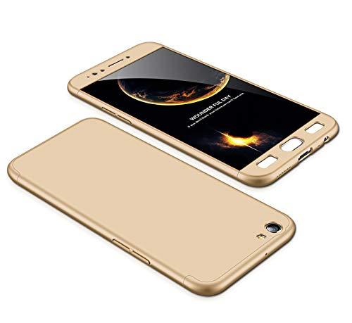 MEVIS Oppo F3 Plus Hülle,360 Grad hülle Fullbody case+(1*Hartglas Glasfilm Schutzfolie) 3 in 1 Ultra dünner pc Hardcase Scratch & Shockproof-Gold