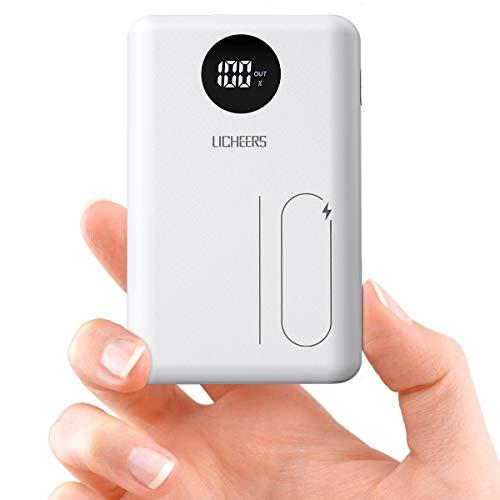 licheers 10000mAh Externer Akku, Mini tragbare Powerbank mit 2 USB Ausgängen und LCD Anzeige kompatibel mit iPhone, iPad, Samsung Galaxy und viele mehr (Weiß)
