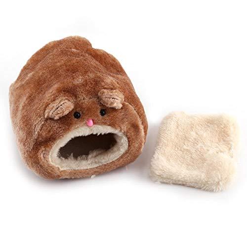 HEEPDD Plüsch Hamster Bett, niedliche Hamster Haustier Haus Winter warme kleine Tier Haustiere Schlafen Nest Hideaway Spielzeug für Hamster Meerschweinchen Igel Eichhörnchen Mäuse (Braun)
