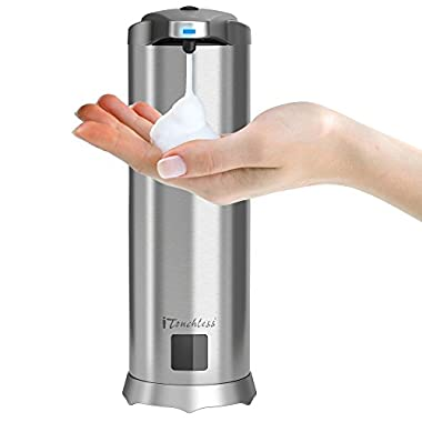iTouchless Ultraclean Automatic Sensor Foam Soap Dispenser, Rust-Free Stainless Steel, Foaming Hand Wash Touchless Pump for Bathroom & Kitchen