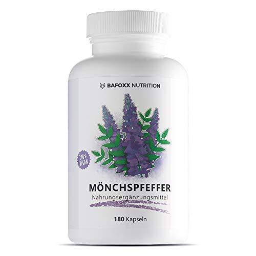BAFOXX Nutrition® Mönchspfeffer Kapseln hochdosiert - 180 Stück für 6 Monate - Naturprodukt mit 10 mg Extrakt 4:1 - vegan und ohne Zusätze - deutsche Markenqualität