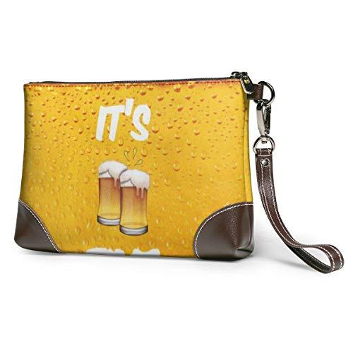 Echt lederen portemonnees voor vrouwen Rits rond polsband lange portemonnee vintage reliëf rundleer capaciteit handgemaakte koppeling zijn bier tijd