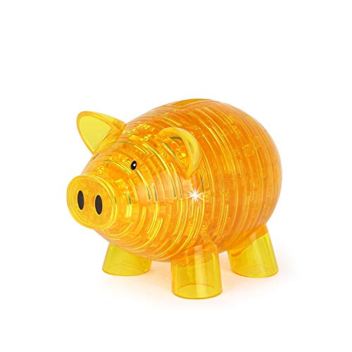 zacheillo 3D Crystal Puzzle,Piggy Bank Jigsaw Toys,Brain Teaser IQ Game,Animal DIY Craft Gadget Model Kit,Assembly Building Block Construction Educational Puzzles,Gifts for Kids Teens Adults,Yellow