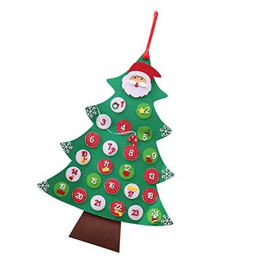 HelloCreate Weihnachtsbaum Countdown Kalender (24 Tage) Weihnachten Adventskalender mit Taschen Xmas Dekoration Hängend für Weihnachtsbaum
