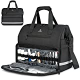 Nurse Bag, Large Waterproof Medical Bags with Many Pocktets for Nursing School Students, Womens Portable Clinical First Aid Kit Hospital Duffel Doctor Bag for Home Visits, Health Care, Hospice, Black