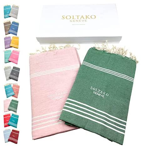 SOLTAKO XXL 2X Fouta Strandtuch Handtuch Saunatuch Badetuch Hamamtuch Yoga Decke Pestemal in Babypink & Olivegrün Farben als 2er Geschenkset extra groß, 100 x 200 cm