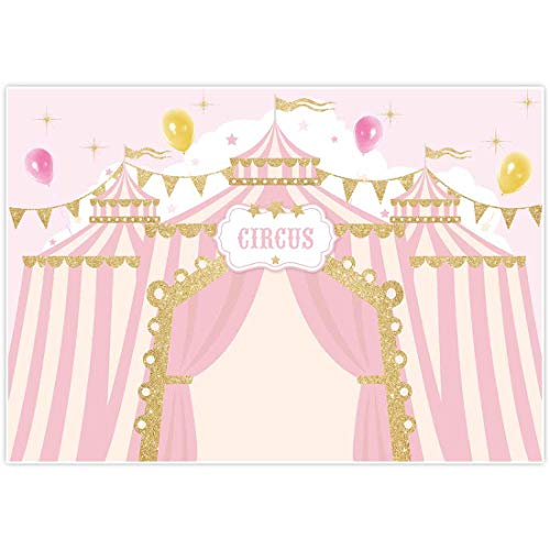 Allenjoy 7x5ft Pink Circus Backdrop Carnival Carousel Big Top Tent First 1st Background Girl Birthday Party Dessert Candy Cake Table Decor Decoration Baby Shower Banner Photo Shoot Booth