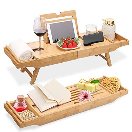 HEIMWERT Badkuiprek badkuiprek badkuip - extra groot met uitklapbare standaard - badkuip dienblad tafel en ontbijtdienblad accessoires van bamboe hout voor bed bad tray