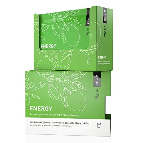 Vit2go ENERGY (10 sobres) - Bebida energética con cafeína (124 mg), guaraná y taurina, Complejo vitamínico con minerales (8 vitaminas B y aminoácidos esenciales, magnesio, calcio, zinc), vegano