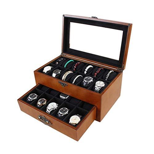 CCAN Caja de Reloj Almacenamiento de Joyas Caja de Reloj de Madera - Soporte de exhibición/Juego de Caja/Caja de Almacenamiento para Relojes de joyería - Caja de presentación de Reloj de 22