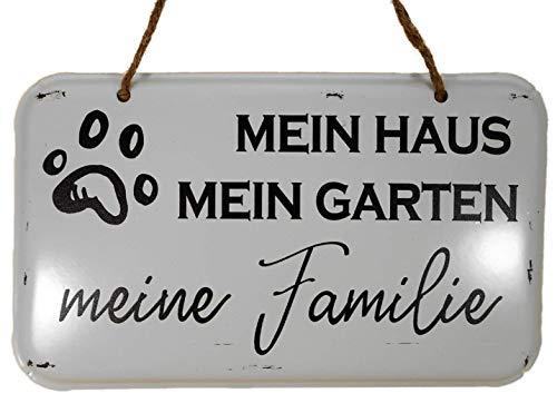 Trends & Trade Mein Haus, Mein Garten, Meine Familie Blechschild 20 x 12 cm Hund Pfote Regeln Metall Blech Schild Deko F38