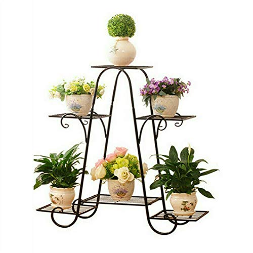 Malayas 6 Tier European-style Iron Flower Pot Stand Shelves Garden Tiered Plant Holder Display for Outdoor and Indoor Decoration