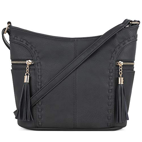 DELUXITY   Crossbody Hobo Slouch Bucket Purse Bag   Side Pockets with Tassel   Adjustable Strap   Black