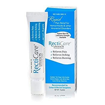 RectiCare Anorectal Lidocaine 5% Cream  Treatment for Hemorrhoids & Other Anorectal Disorders - 15g Tube