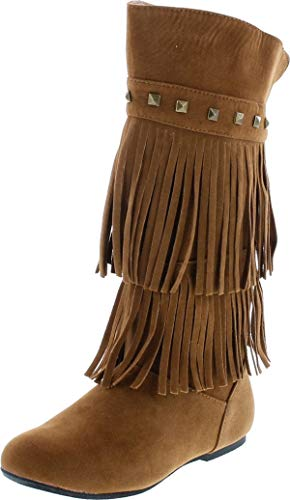 Yoki Trina 03K Little Girls Moccasin 2 Layer Fringe Boots,Rust,10