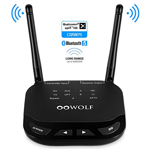 OOWOLF Bluetooth Transmitter Receiver, aptX Low Latency aptX HD Long Range Bluetooth 5.0 Transmitter Adapter for 2 Headphones, 3.5mm Audio, Home Stereo, Optical Digital, AUX & RCA