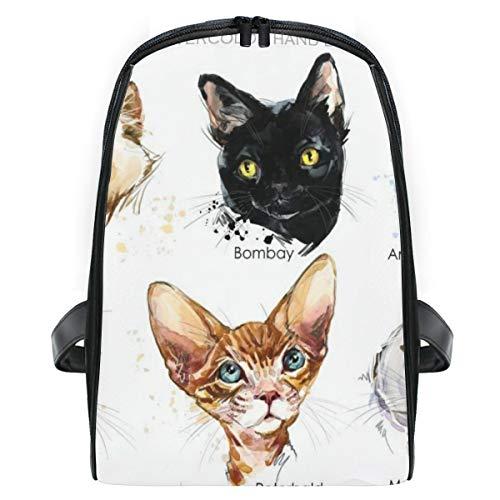 ELIENONO Katzenrassen Set Cute Pets Poster,Laptop Rucksack für Männer Schulrucksack Multifunktionsrucksack Mini Tagesrucksack für Schule Wandern Reisen Camping