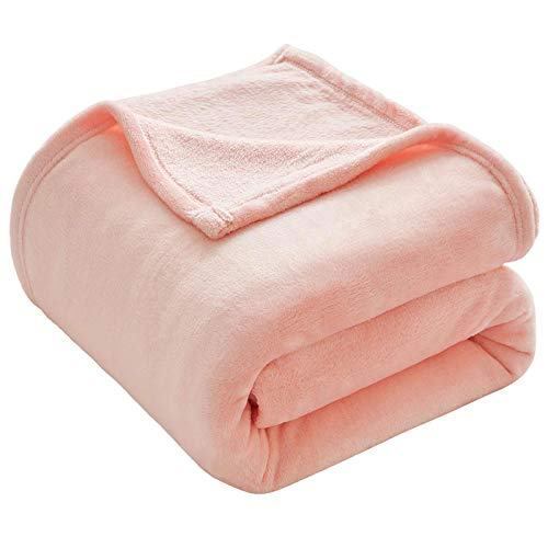 VEEYOO Fleece Blanket Throws Travel Size - Super Soft Fluffy Bed Throws Blankets Warm Blanket for Sofa Christmas Throws Pink Blanket Bedspread 130x150cm