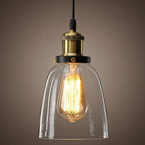 Louvra Lámpara Vintage Colgante Luz Industrial Lámpara de Techo Casquillo E27 Retro Pantalla