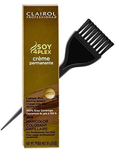 Price comparison product image Clairol Soy4Plex Premium PERMANENT CREAM HAIR COLOR (w / Sleek Tint Brush) 100% Gray Coverage Creme Permanente Professional Grey Haircolor Dye (4G Light Golden Brown)