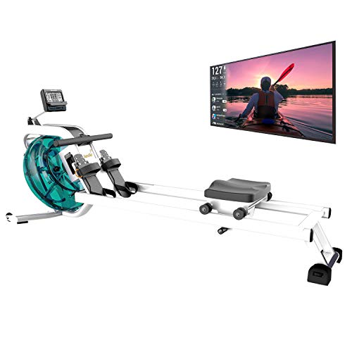 skandika Wasser Rudergerät Nemo IV/V, Water Ruderzugmaschine mit regulierbaren Wasserwiderstand, Double-Slide-Konstruktion | Rower mit Multi-Funktionen Computer + Tablet-Halterung