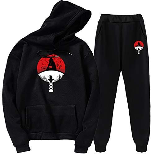 SAFTYBAY Unisex Naruto Hoodies+ Sweatpants Uchiha Itachi Suits Mens Womens Anime Hooded Sweatshirts Tracksuits (Black,L)